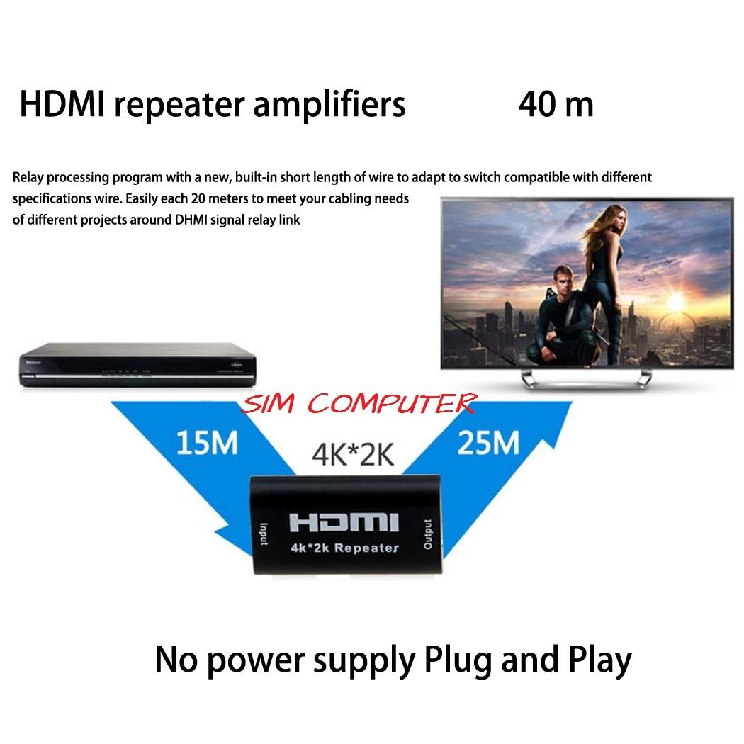 HDMI Repeater Extender Amplifier Booster Adapter UP to 40M