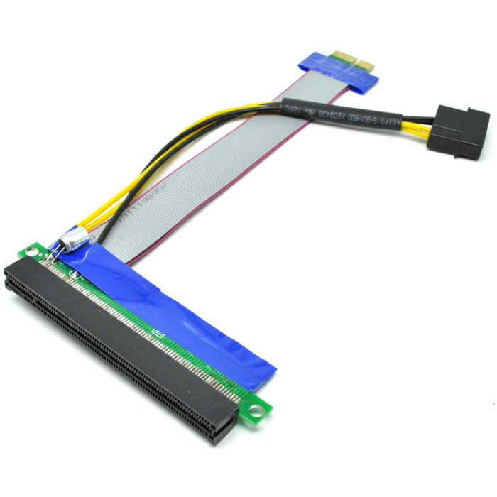 PCI-E Adapter Card 1X to 16X Kabel Flexible Molex Power Murah