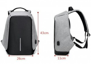 Tas Ransel USB port Anti Maling thief Smart Backpack Anti Air Impor - Selempang USB